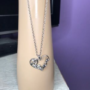 Silver and rhinestone Mom necklace